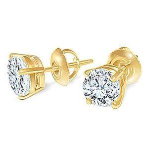 G Si1 Round Diamond Stud Earring Pair